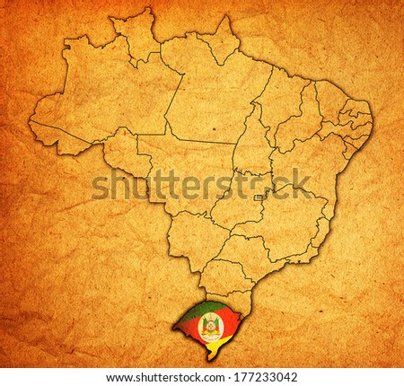 rio grande do sul on administration map of brazil with flags - stock photo
