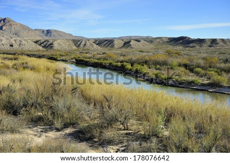 Rio Grande River view from Boquillas Canyon - Big Bend National Park - stock photo