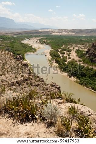 Rio Grande Wild and Scenic River and mountains - stock photo