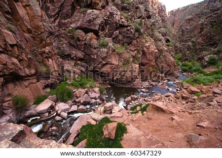 Rio Guadalupe near the Gilman Tunnels in New Mexico - stock photo