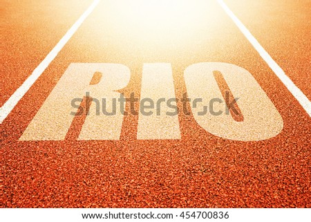 Rio title on athletic running track, conceptual image for sport event taking place in Brazil
