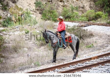 RIOBAMBA, ECUADOR - JAN 7, 2015: Unidentified Ecuadorian man on a beautiful horse near a rail road. 71,9% of Ecuadorian people belong to the Mestizo ethnic group - stock photo
