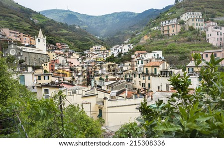 Riomaggiore, Cinque Terre, Italy, traditional fishing village situated in coastal valley on the Ligurian coast. - stock photo