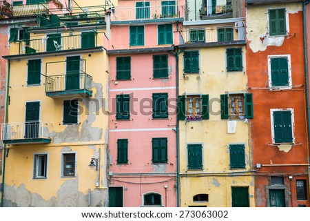 Riomaggiore, Italy - April 18: View of one village of Cinque Terre on a cloudy day in Riomaggiore, Italy on April 18, 2015.