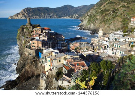 Riomaggiore - one of the cities of Cinque Terre in italy - stock photo