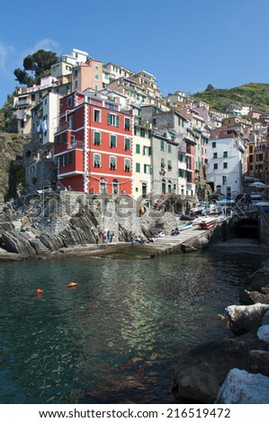 Riomaggiore village - Cinque Terre in Italy - stock photo