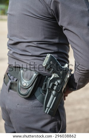 Riot police practice of using armed tactical pistol.