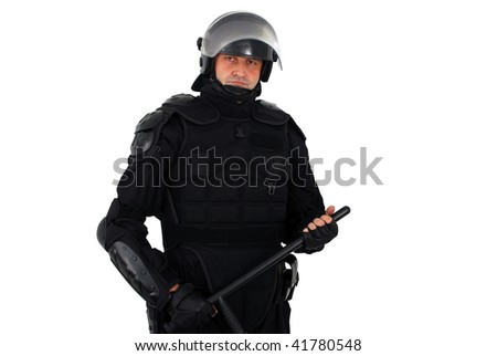 riot policeman with nightstick isolated - stock photo