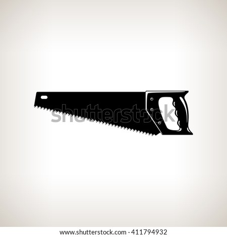 Rip Saw , Silhouette a Crosscut Hand Saw on a Light  Background, Agricultural Tool Saw , Garden and Carpentery  Equipment, Black and White  Illustration