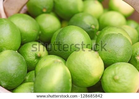 Ripe and juicy lemons for retail at the market. Horizontal Shot. - stock photo