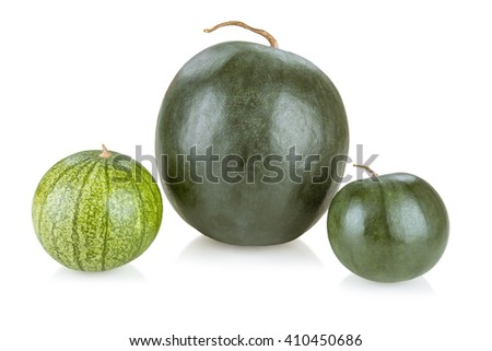 Ripe and juicy water melon isolated on white background - stock photo