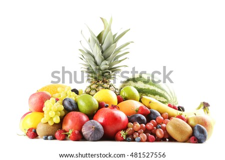 Ripe and tasty fruits isolated on a white