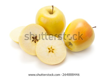 ripe apples and half isolated on white background - stock photo