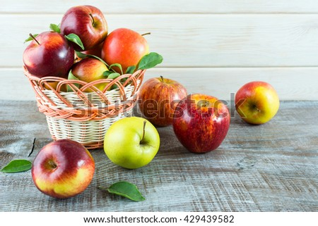 Ripe apples in the basket. Fresh fruits. Fresh apples. Healthy food. Healthy eating. Vegetarian food. Healthy eating concept.  - stock photo