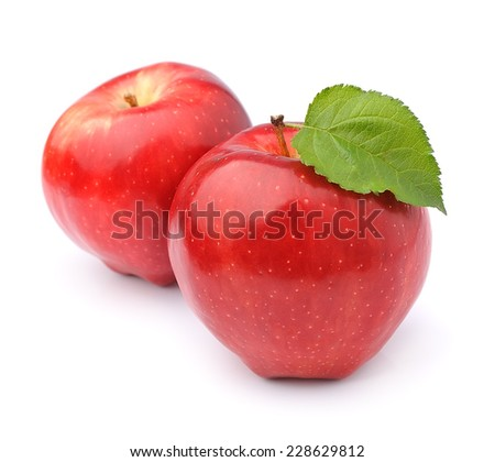 Ripe apples isolated on white background .