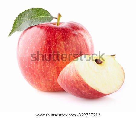 Ripe apples with slice - stock photo