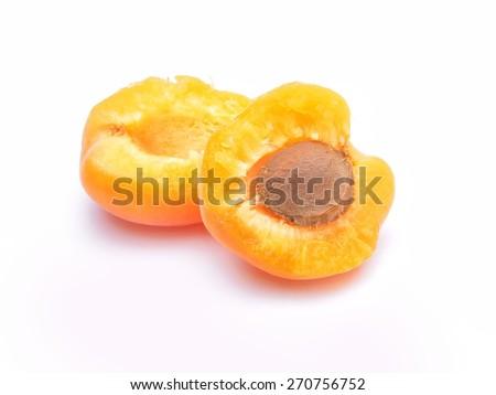 Ripe apricot fruit isolated on white background  - stock photo