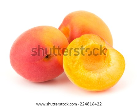 Ripe apricot isolated on white background closeup - stock photo