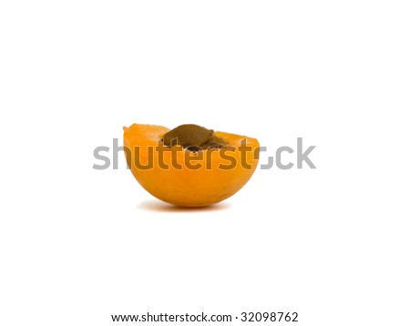 ripe apricot on white background, isolated