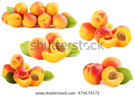 Ripe apricots fruit isolated on a white
