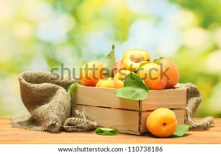 ripe apricots with leaves in wooden box on wooden table on green background - stock photo