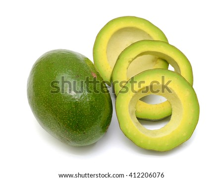 Ripe Avocado fruit with slices isolated on white background
