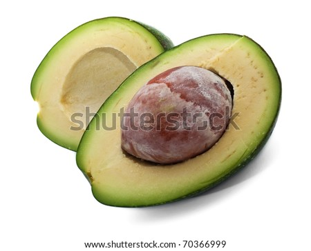 Ripe avocado isolated on white background