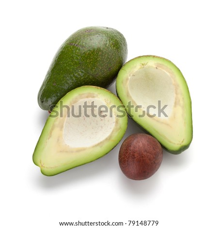 Ripe avocado. Isolated on white background. Above view - stock photo