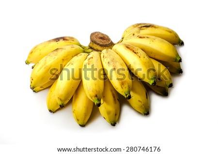 Ripe Banana on white background - stock photo