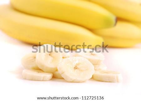 Ripe bananas isolated on white - stock photo