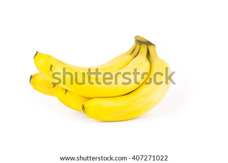 Ripe bananas isolated on white background with clipping path - stock photo