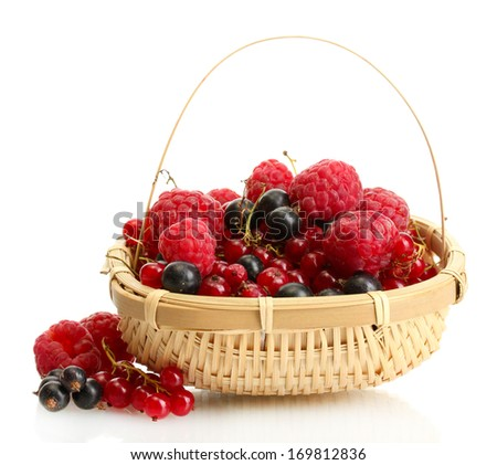 ripe berries in basket isolated on white  - stock photo