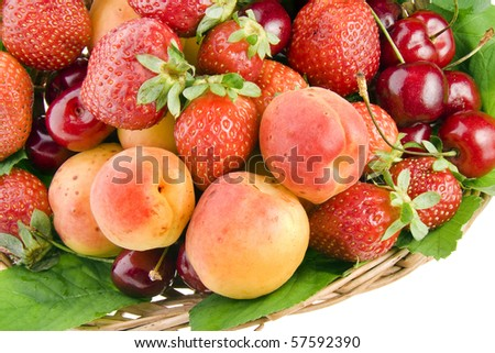 ripe berries isolated in basket