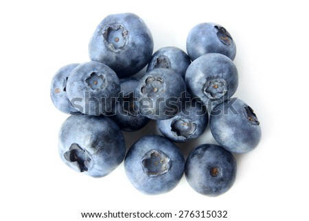 Ripe bilberries on white background - stock photo