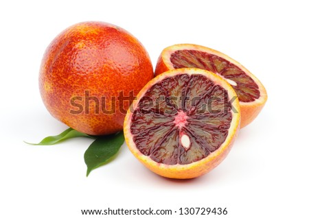 Ripe Blood Oranges Full Body and Two Halves isolated on white background - stock photo
