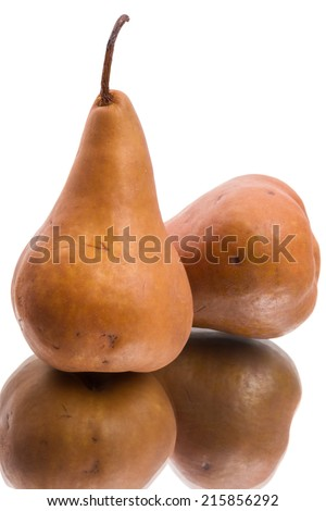 Ripe Brown pear isolated on white background - stock photo