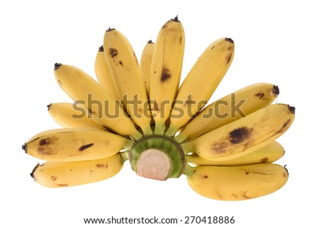 Ripe Bunch of bananas isolated on white background - stock photo