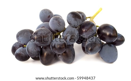 Ripe bunches of blue grapes isolated on white - stock photo