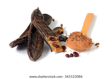 Ripe carob pods and carob powder, can be used as a substitute for cocoa