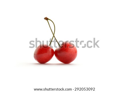 Ripe cherries. isolated on a white background - stock photo