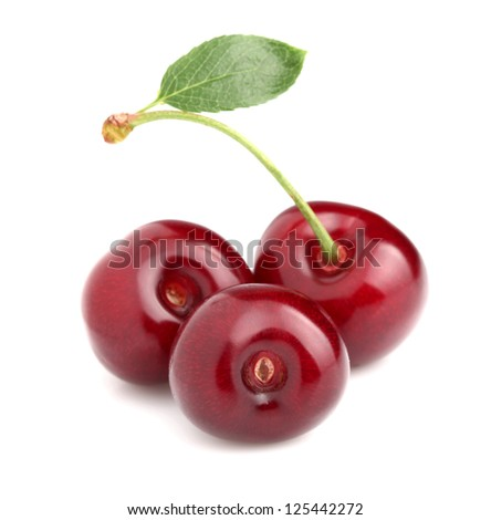 Ripe cherry in closeup - stock photo