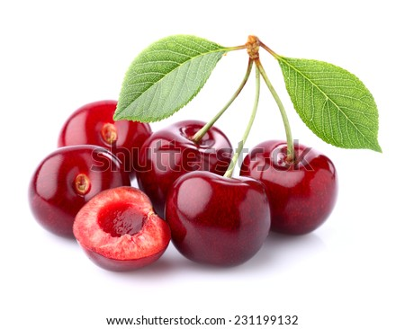 Ripe cherry in closeup - stock photo