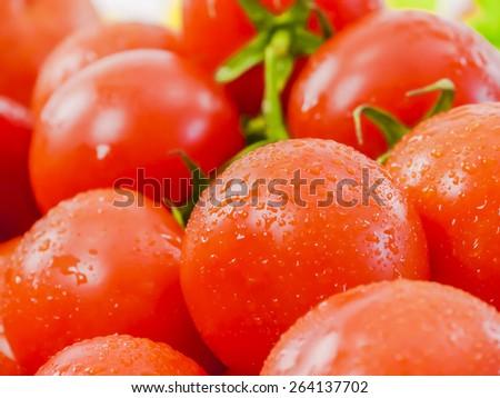 ripe cherry tomatoes close up - stock photo