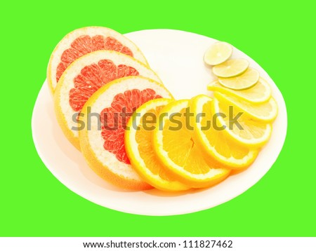 Ripe citrus slices on plate isolated