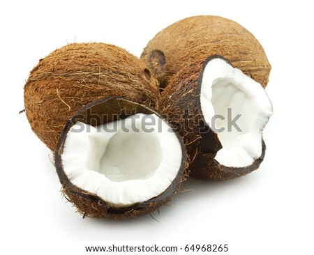 Ripe coconut on a white background