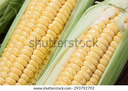 Ripe corn macro view on wooden background. - stock photo