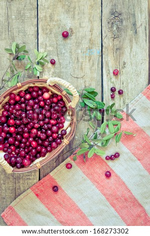 ripe cranberry in a basket  - stock photo