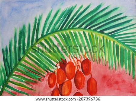 Ripe dates on the palm tree hand painted watercolor illustration - stock photo