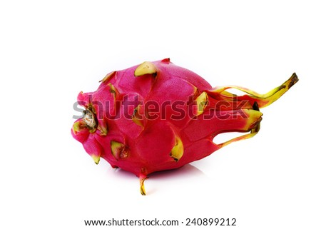 Ripe dragon fruit on white