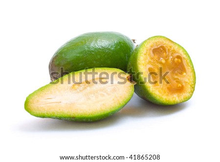 ripe feijoa with slices